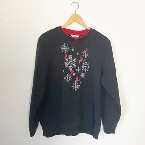 Northern Reflections Snowflake Cardinal Sweater L